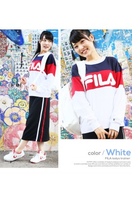 【Clearance!】 FILA Logo Dual Color Sweater - WHITE /NAVY/ RED