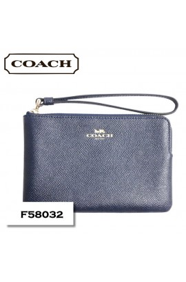 [連Coach禮盒] Coach - Leather Wrist Pouch F58032 / Navy