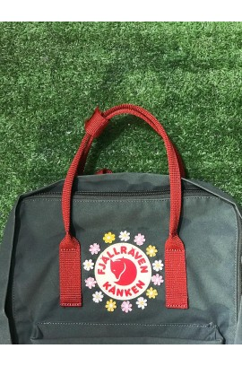 [刺繡限定!] Fjallraven Kanken –  Forest Green Ox Red/ Daisy Blossom