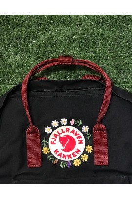[全新刺繡限版!] Fjallraven Kanken –  Black Ox Red/ Sunflower Garden