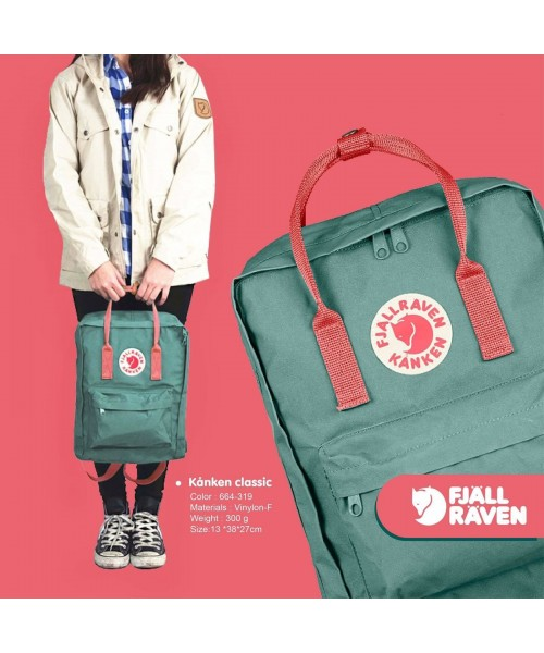 Other Men's Clothing Fjallraven Kanken Classic Frost Green And Peach Pink