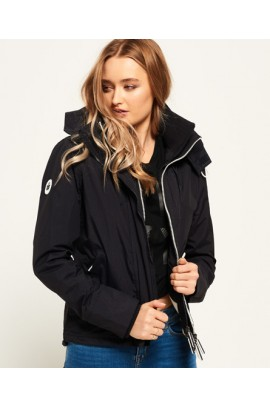 Pop Zip Hooded Arctic Windcheater Jacket - eclipse navy / ecru