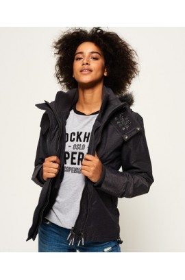 Hooded Fur Sherpa Wind Attacker Jacket - mid charcoal marl/black