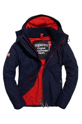 Pop Zip Hooded Arctic Windcheater Jacket - nautical navy/rebel red
