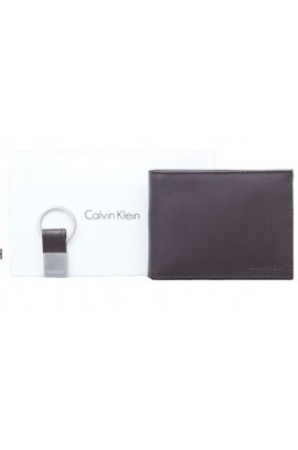 Calvin Klein Smooth Leather Wallet  With Key Kob Set - Brown