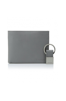 Calvin Klein Smooth Leather Wallet Key Fob Set - Charcoal