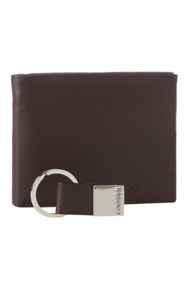 Calvin Klein Coin Case with ID Window Wallet Set - Dark Brow