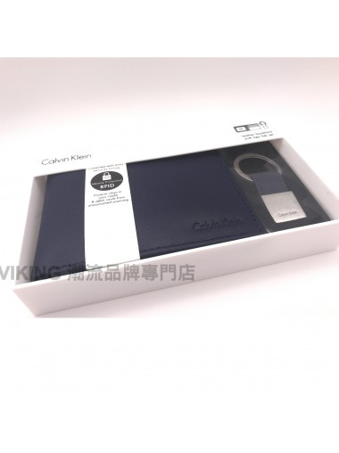 [人氣推薦] Calvin Klein Smooth Leather Wallet Key Fob Set - Navy Blue 禮盒套裝