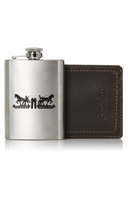 [水瓶套裝] Levi's Men's Leather Passcase Wallet with Metal Flask
