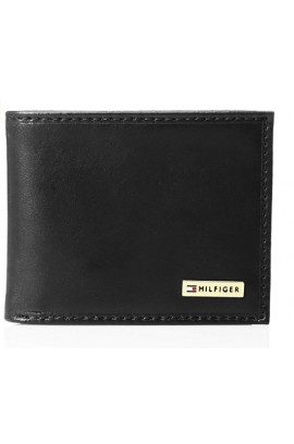 Tommy Hilfiger Men's Metal Logo Leather Passcase Wallet