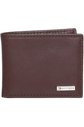 Tommy Hilfiger Men's Metal Logo Leather Passcase Wallet - Brown