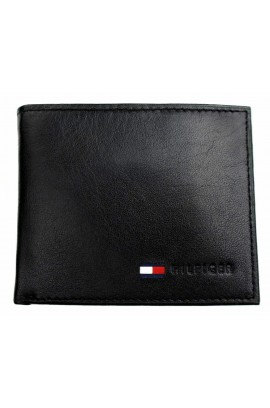 Tommy Hilfiger Men's Leather Passcase Wallet - Black
