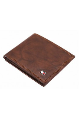 Tommy Hilfiger- Men's RFID Leather Traveler Wallet/ Tan