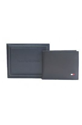 Tommy Hilfiger Men's Leather Cambridge Passcase Wallet with Removable Card Holder- Black